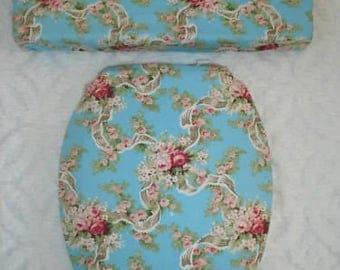 Aqua Blue and Pink Roses Toilet Seat & Tank Lid Cover Set