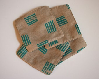 Handprinted Linen Coasters - Turquoise Lines