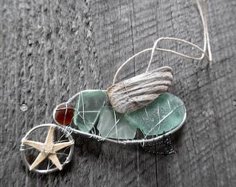 Little Blue Sea Bird Suncatcher Ornament with Beach Glass Driftwood and Starfish