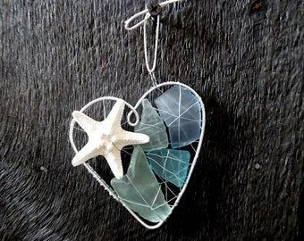 Sky Blue Seaglass and Starfish Heart Suncatcher