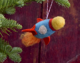 NEW for 2016! Felted Rocket - Needle Felted Christmas Ornament