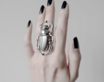 Silver Scarab Ring Beetle Ring Large Egyptian Ring Statement Aged Oxidized Silver Insects Alternative Gothic Jewelry Steampunk Jewelry