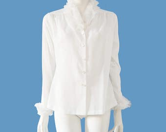 Vintage Lee Mar White Blouse // High Neck Frayed Ruffle Trim Long Sleeve Blouse//  Lightweight Semi Sheer Blouse// Size M// 209