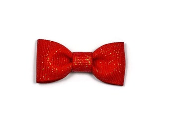 Red Dazzle Baby Hair Bow ~ 2 in. Bow with No Slip Grip ~ Small Hair Bows Newborns Toddler Girls