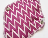 Mama Cloth Menstrual Pad / Cloth Pad  .. Perfect for Postpartum 8 inch Purple Chevron Printed Cotton HEAVY FLOW  and FREE Shipping