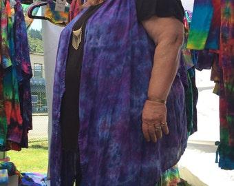 I Love Purple Tiedyed Rayon Gauze Flowy Vest
