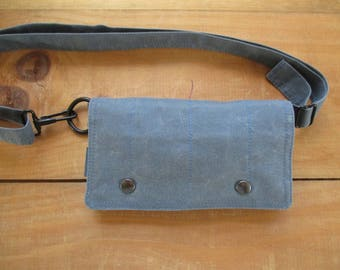 Blue Fanny Pack Belt Purse Travel adventure modern Belt Bag Blue waxed canvas belt bag MINI messenger babywearing Dog Walker Hiker Bag