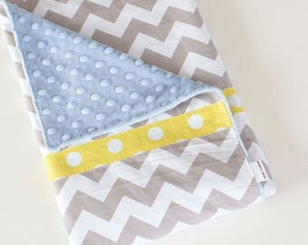 Baby Blanket, Simple Patchwork Blanket, Grey and White Chevron with Blue Minky