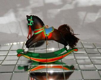 Vintage Hallmark Bay Rocking Horse Christmas Ornament / Decoration 1990