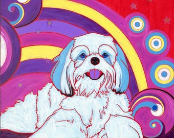 Shihtzu Dog Art Print - Colorful Dogs by Angela Bond Art