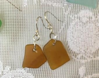 Brown clorox bottle tumbled glass dangle earrings TrAsH gLaSs beach glass inspired jewelry
