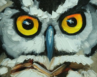Owl painting 129 6x6 inch original oil painting by Roz
