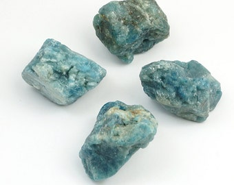 Apatite nugget beads, green blue matte primitive style semiprecious assorted size, 4 pcs