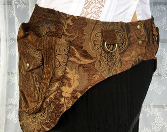 Brown tapestry festival belt - desert festival utility belt - steampunk pocket belt - plus size utility belt - plus size fanny pack - Large