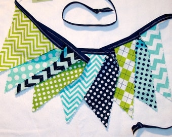 Pennant bunting fabric banner in navy blue, aqua, lime green - 9 double sided flags total