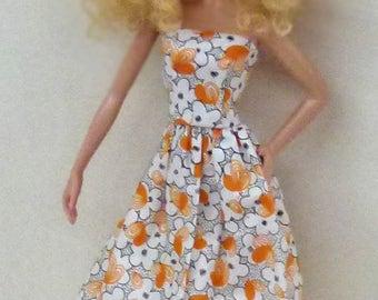 1/6 scale fashion doll dress handmade - orange floral