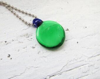 Green and Blue Round Minimalist Neckalce