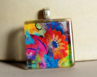 Abstract Floral Glass Tile Pendant #3 - Modern Floral Pendant