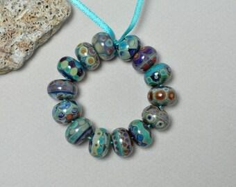 Russet silvers - Lampwork beads by Loupiac