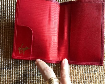 vintage red    leather travel case passport airline tickets leather Crafted in England