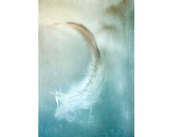Feather Print, Zen Art, Abstract Photography, Ethereal Dream Print, White Aqua Wall Art, Bedroom Decor, Romantic Art