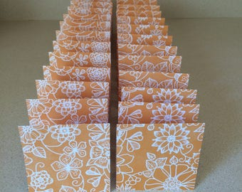 Mini Cards 24 Orange Flowers - blank for thank you notes 3 x 3