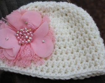 Crochet baby hat, Newborn photo prop, infant hat, photo shoot hat, take home outfit, Baby girl hat, Ivory hat with pink flower