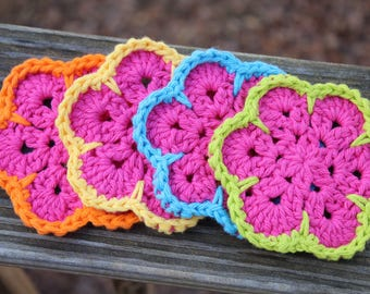 African flowers coasters, Crochet coasters, Mug Rugs, Small crochet doilies, Colorful coasters, Pink coasters, hostess gift, mom gift