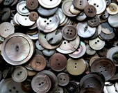 Supplies - 100 Smokey Mother of Pearl Buttons, vintage button lot, smoky mop buttons