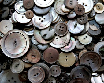 Supplies - 100 Smokey Mother of Pearl Buttons, vintage button lot, smoky mop buttons, craft buttons