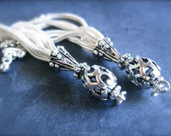 Gorgeous handmade lariat sterling silver TASSELS - Bali style - LARGE - 2 7/8 inches long
