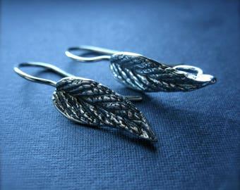 Botanical Leaf Ear Wires Solid Sterling Silver french hook