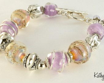 Lampwork Bracelet - Lampwork Opal Lavendar Bubble Karen Hill Tribe Silver Bead Bracelet - KTBL