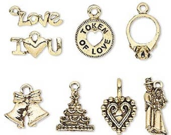 Wedding Theme Charm Set, Gold- or Silver-Plated Pewter