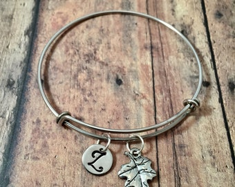 Leaf initial bangle- leaf jewelry, nature jewelry, silver leaf bracelet, forestry jewelry, tree bracelet, forest bracelet, nature lover gift