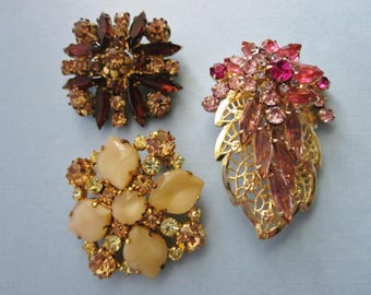 Destash Rhinestone Brooches lot of three