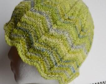 Green Chevron Winter Hat - Hand Knit Beanie from Hand-Dyed handspun yarn - superfine merino wool, luxury natural fiber, eco friendlier dye
