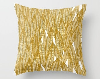 Decorative pillow cover- gold-white-yellow-nature-leaves-leaf pattern- modern home decor- gift for her