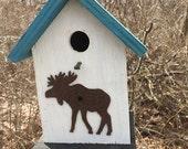 Birdhouse Functional Primitive White Blue Rusty Moose Cutout