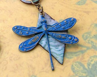 blue Dragonfly necklace - Enamel statement necklace - bohemian jewelry