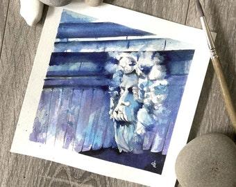 Blue and purple gargoyle statue under Paris bridge original architecture watercolour painting