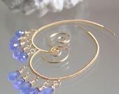 14k Gold Filled Earrings with Tanzanite Dangles, Lightweight Wire Wrapped Gemstone Chandelier Hoops