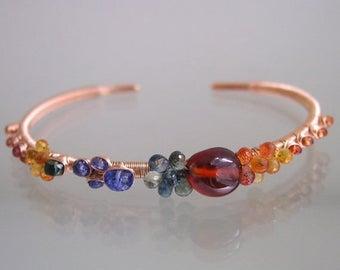 Multi Gemstone Rose Gold Cuff, Wire Wrapped Sapphire Bracelet, Stackable, Spessartite, Tanzanite, Original Design, Signature