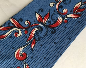 1950's Necktie New Old Stock Tie with Tags Rayon Wilcrest in Floral Scroll Cadet Blue and Red Geometric