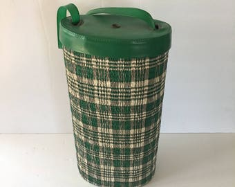 Vintage Yarn Dispenser Knitting Needle Project Storage Bag in Green and Grey Plaid Puckered Vinyl and Cardboard Storage