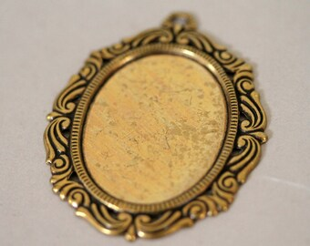 Fancy Antiqued Brass Cabochon Setting, Pendant Setting, 40x30MM Cabochon Setting, Antiqued Brass Glue In Pendant Holder