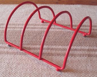 Vintage Red Rubber Coated Metal Kitchen Rack