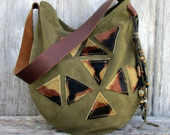 Geometric Triangle Suede Leather Shoulder Bag by Stacy Leigh in Olive Green
