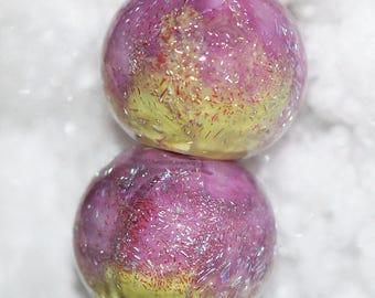 Handmade dichroic lampwork bead pair by joycelo