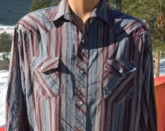 vintage 80s western shirt WRANGLER gray red stripe pearl snaps button down Large XL rockstar cowboy